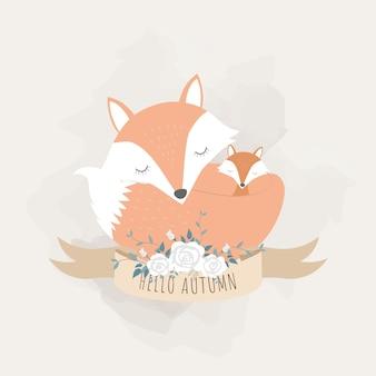 Animais fofos para o dia das mães. raposas mãe e bebê.