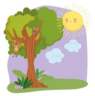 Animais fofos pendurados na árvore