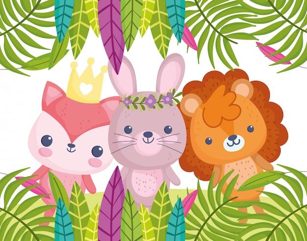 Animais fofos, pequeno coelho de leão dos desenhos animados e folhagem de raposa