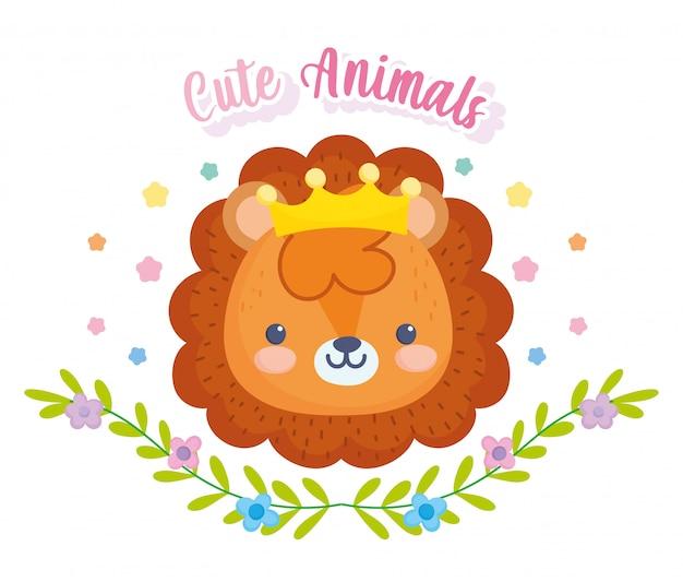 Animais fofos, pequeno leão com folhas de folhagem de coroa