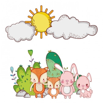 Animais fofos, raposas e coelhos natureza sol dos desenhos animados