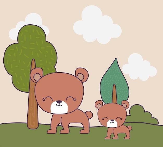 Animais fofos ursos na natureza de cena paisagem