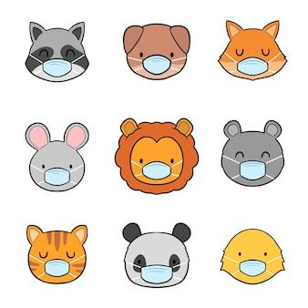 Animais fofos usando coleção de rosto
