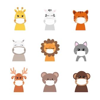 Animais fofos usando máscaras protetoras de vírus ou poeira. desenho animado. Vetor Premium