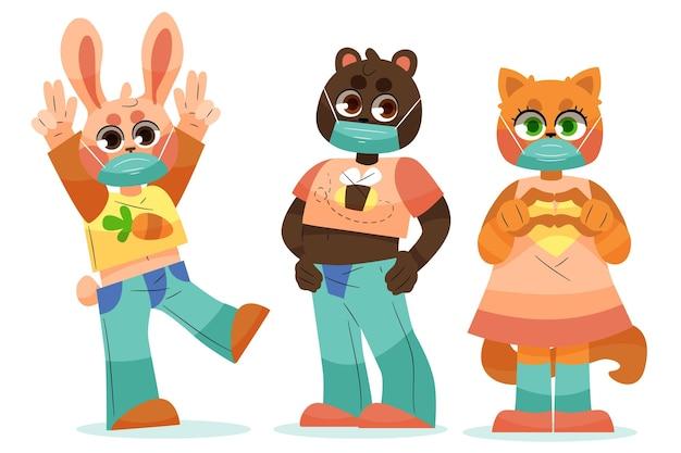 Animais fofos usando máscaras