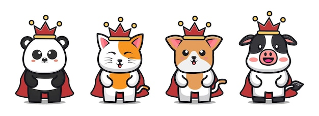 Animais fofos usando o personagem de desenho animado da coroa