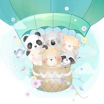 Animais fofos voando com balão de ar