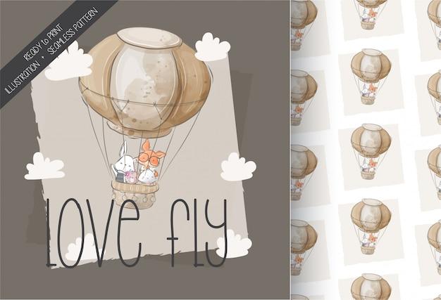 Animais fofos voando com padrão sem emenda de balão de ar
