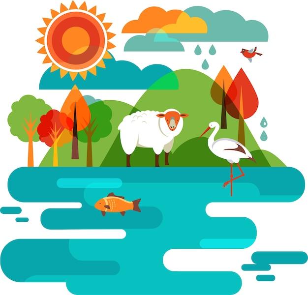 Animais ilustração da natureza, ovelhas, cegonhas e peixes