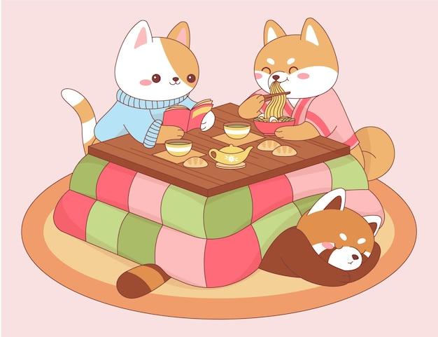 Animais kawaii comendo em uma mesa kotatsu