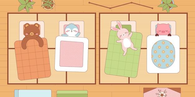 Animais kawaii dormindo em futons