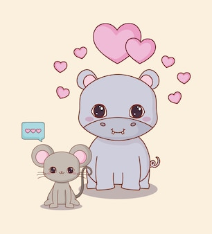 Animais kawaii e amor