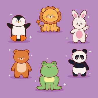 Animais kawaii seis personagens