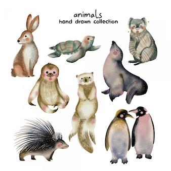 Animais mão coleção desenhada