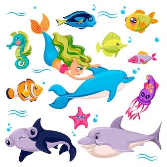 Animais marinhos, criaturas do oceano, peixes tubarão estrela do mar golfinho com sereia