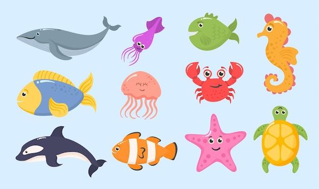 Animais marinhos do oceano, plantas aquáticas, engraçadas, trópico, criaturas subaquáticas, exótico, aquário, peixes, conjunto