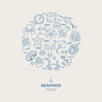 Animais marinhos, ícones de linha fina de frutos do mar em círculo.