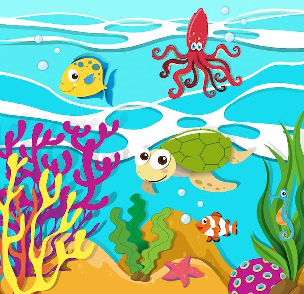 Animais marinhos nadando no oceano