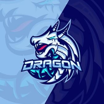 Animais mitológicos dragão esporte esport jogos mascote logotipo modelo para equipe de serpentinas