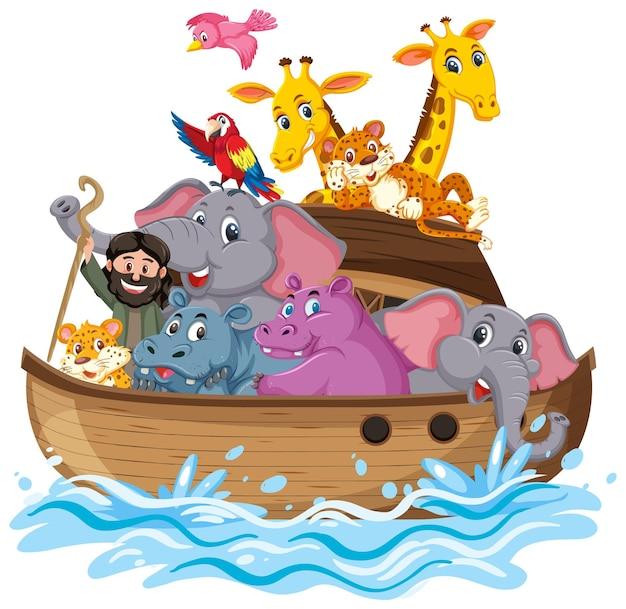 Animais na arca de noé isolados no fundo branco