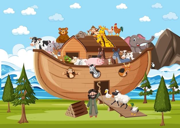 Animais na arca de noé na cena do oceano