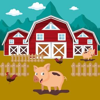 Animais na cena da fazenda