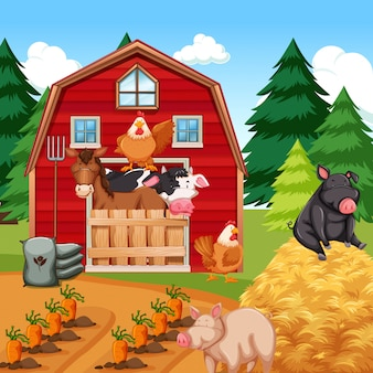Animais na fazenda