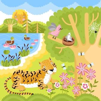 Animais na floresta.