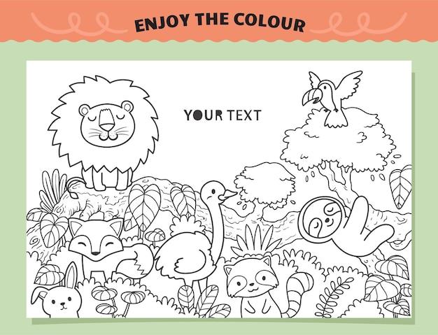 Animais na selva para colorir para crianças Vetor Premium