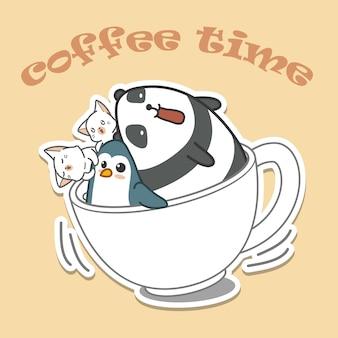 Animais na tampa do café. hora do café