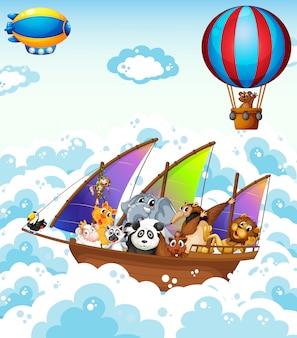 Animais no barco