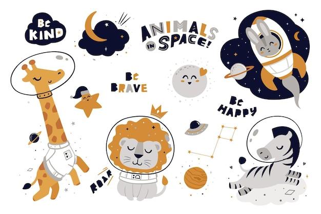 Animais no elemento espaço
