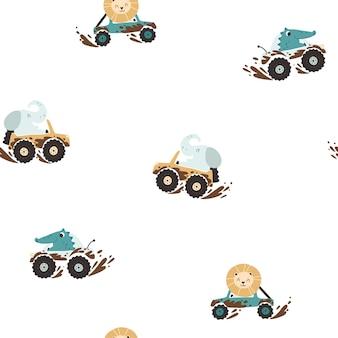 Animais offroad em carros na lama padrão sem emenda personagens de desenhos animados, elefante, crocodilo e leão