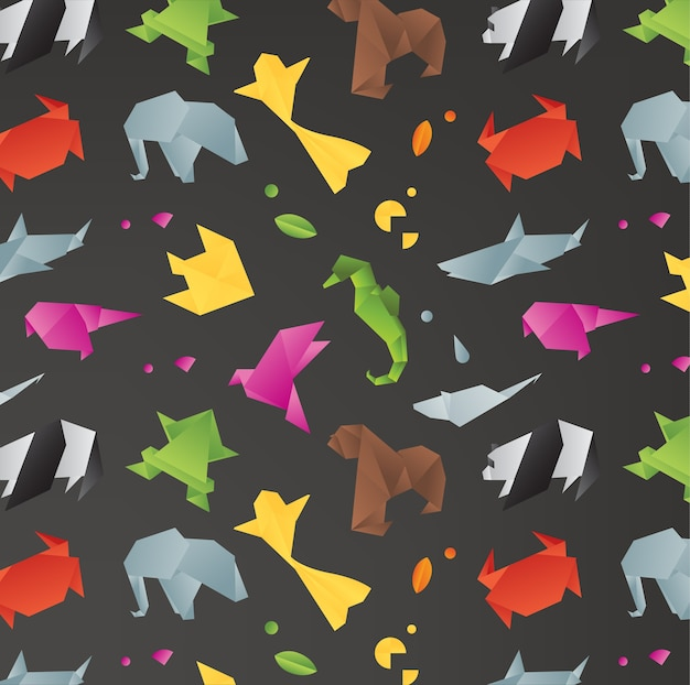 Animais origami preto padrão