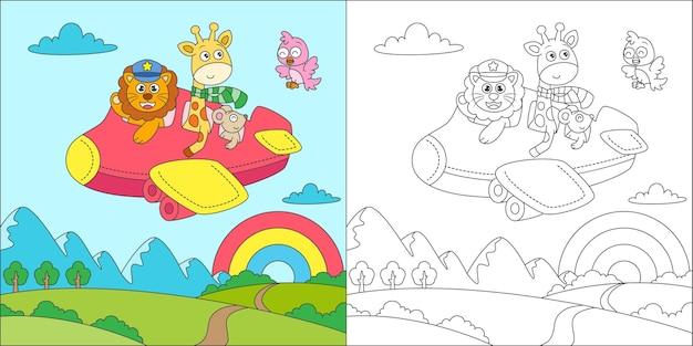 Animais para colorir voando com avião