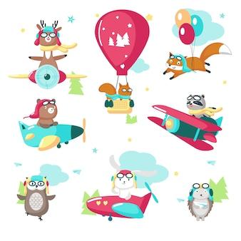 Animais-piloto engraçados engraçados vector ilustração isolada