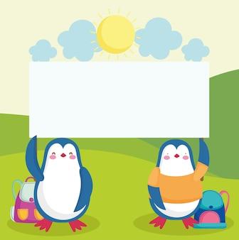 Animais pinguins escolares