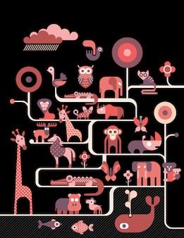 Animais, retro, ilustração