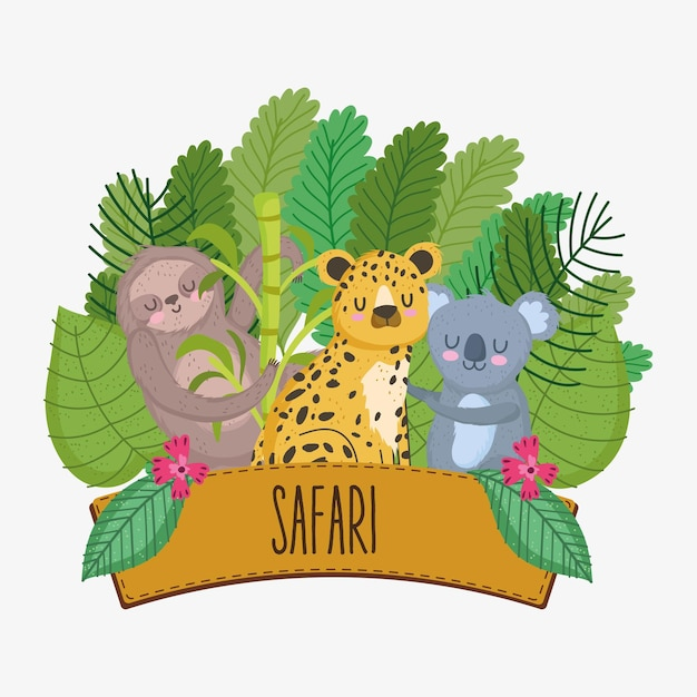 Animais safari com signo