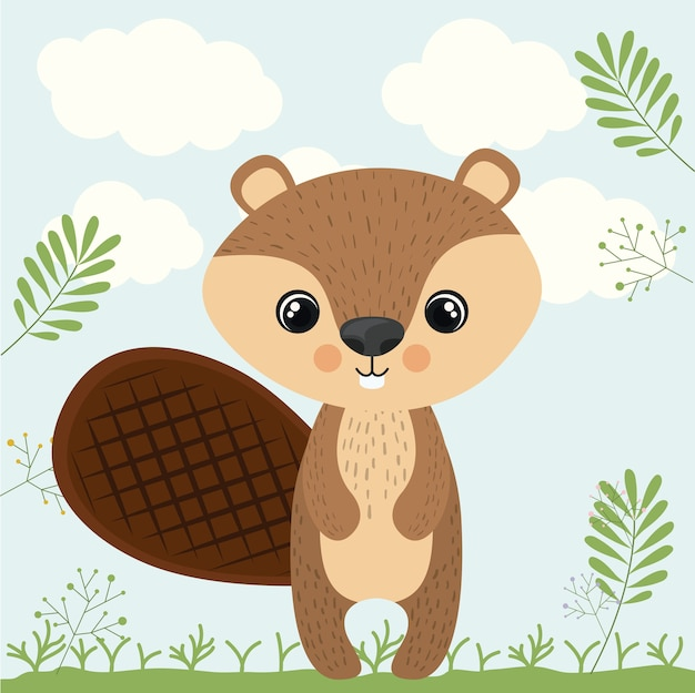 Animais selvagens bonitos do castor