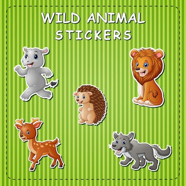 Animais selvagens bonitos dos desenhos animados adesivo