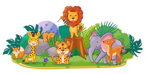 Animais selvagens bonitos estão brincando no jardim