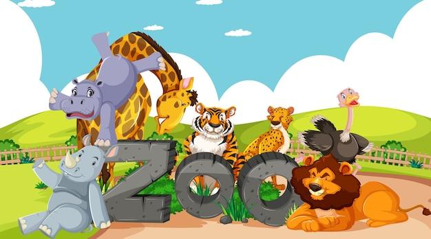 Animais selvagens com placa de zoológico