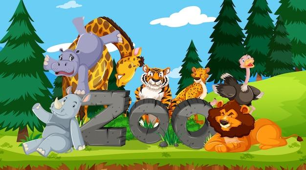 Animais selvagens com sinal de zoológico