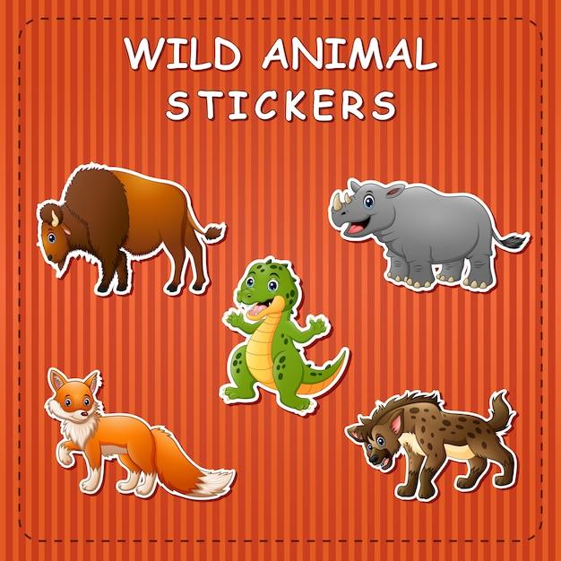 Animais selvagens de bonito dos desenhos animados em adesivos
