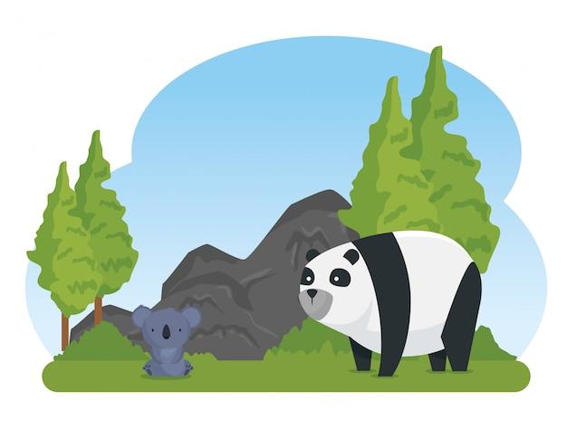 Animais selvagens de coala e panda com árvores e pedras