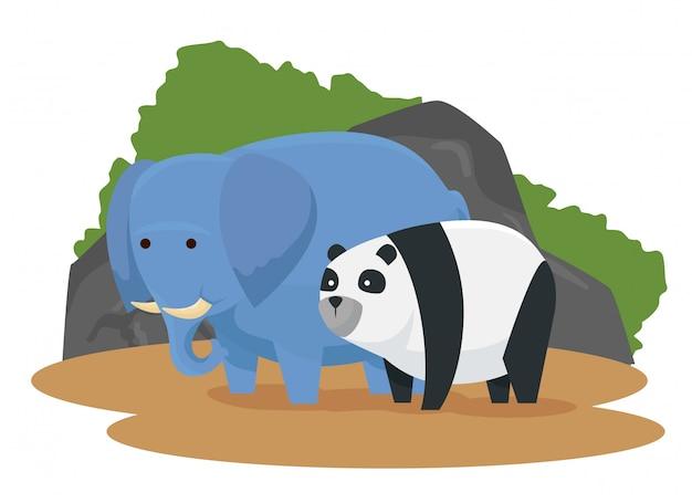 Animais selvagens de elefante e panda com arbustos