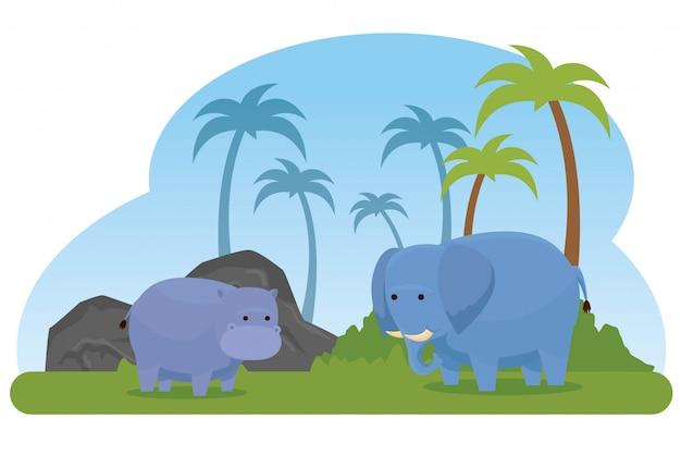 Animais selvagens de hipopótamo e elefante com palmeiras