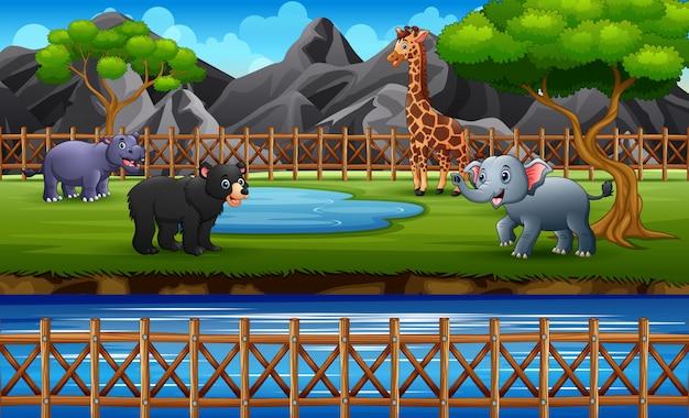 Animais selvagens desfrutando na ilustração de savana