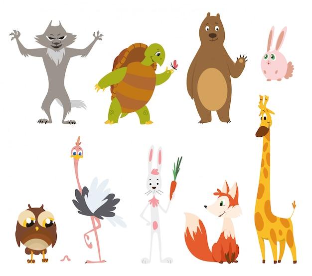 Animais selvagens dos desenhos animados em poses diferentes
